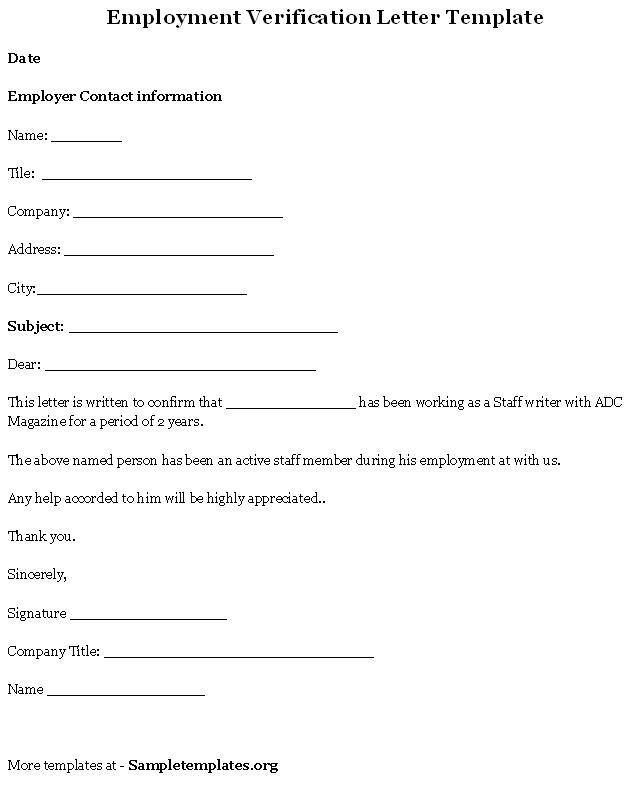 Printable Sample Letter Of Employment Verification Form. Templates ...  Job Reference Form Template