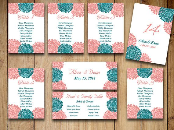 Chrysanthemum Wedding Seating Chart Template  Wedding Reception
