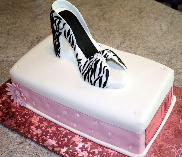 Hatbox Cake W Gumpaste Zebra Print High Heel Sugaring Cake And