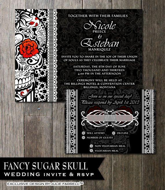 sugar skull wedding invitation calaveras wedding halloween wedding,