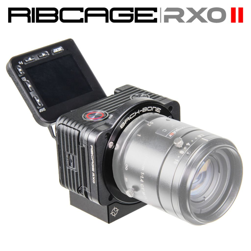 Ribcage modified Sony RX0 action camera. Mount MFT, C-Mount and SLR lenses! Infrared capable. Clean 4K (UHD) via HDMI. Up to 1000 fps at 1080p! 15.3MP RAW photo capture.