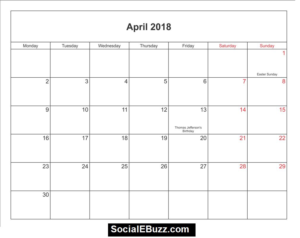 2018 april calendar template httpsocialebuzzcomapril 2018 calendar printable template