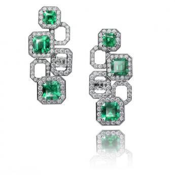 18k White Gold Emerald and Diamond Earrings by Adler