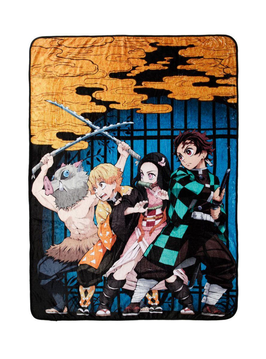 Demon Slayer Kimetsu No Yaiba Group Throw Boxlunch Exclusive In 2021 Slayer Anime Demon Manga Covers