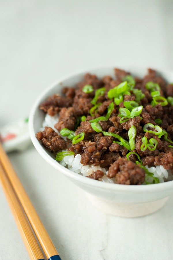 Beef Soboro Ground Beef Is Flavored With A Delicious Japanese Sauce And Eaten Over Hot Rice With An Egg On Top Recipes Beef Ground Beef