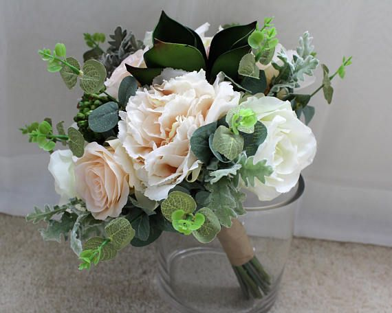 White and green color bouquet used silk flower peony rose dusty white and green color bouquet used silk flower peony rose dusty miller mightylinksfo