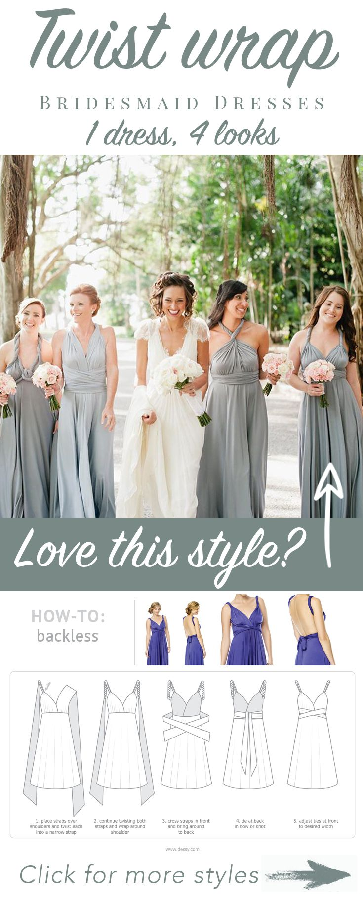 1 beautiful dress 4 looks get the look with our luxurious twist twist dress wrap dress for bridesmaids prom ombrellifo Images