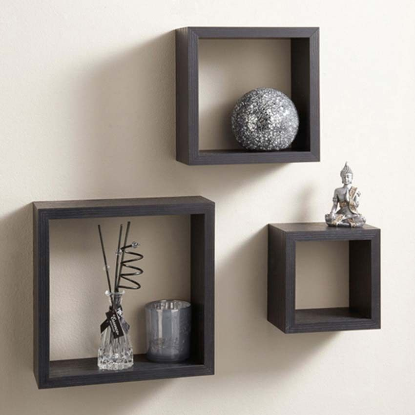 Get Chokor Set Of 3 Square Wall Shelves 92 Black Online In Pakistan On Goto At B Get Chok Floating Cube Shelves Floating Shelves Living Room Cube Shelves