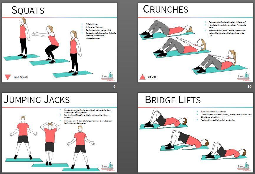 Fitness Bewegungskarten für den Sportunterricht