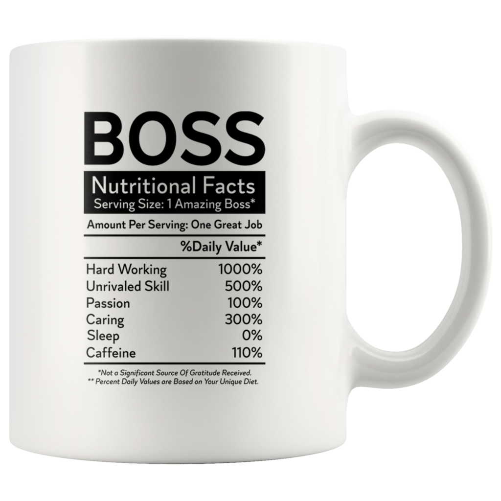 Boss Nutritional Facts Funny Profession Office Coffee Mug