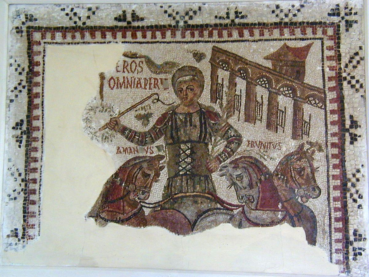 """""""Mosaic of the victorious charioteer"""", 4th century, from"""