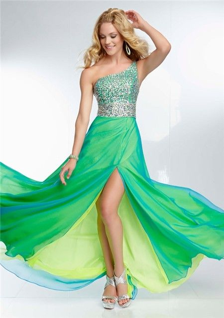 4e5896b296 Elegant One Shoulder Long Yellow Green Chiffon Layered Beaded Prom Dress  With Slit Straps