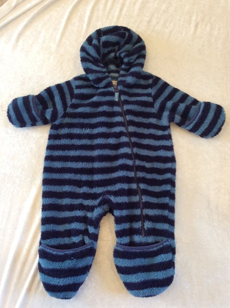 9b6354fdeb81 Hatley 12-18 Months Fleece Bunting Snowsuit Turquoise Navy Striped ...