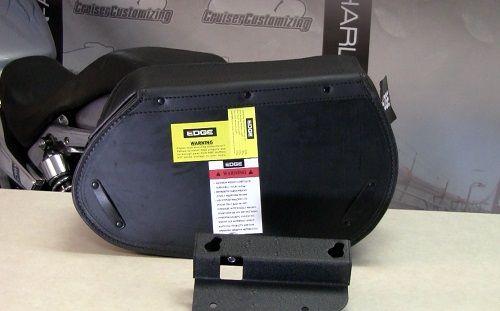 Kuryakyn Edge Leather Detachable Saddlebags- Model 108 (Lockable) (Plain) (Pair) (20 Inch Long X 7 3/4 Inch Wide X 11 1/2 Inch High)