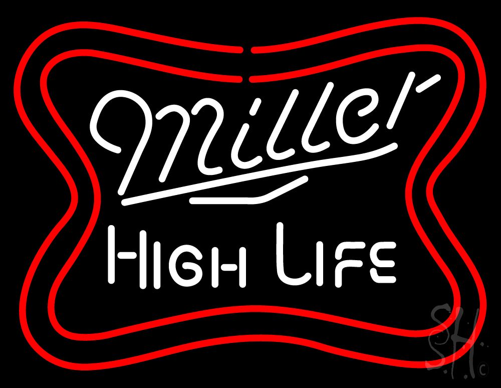 Miller High Life Logo Neon Sign 24 Tall x 31 Wide x 3 Deep, is 100% Handcrafted with Real Glass Tube Neon Sign. !!! Made in USA !!!  Colors on the sign are White and Red. Miller High Life Logo Neon Sign is high impact, eye catching, real glass tube neon sign. This characteristic glow can attract customers like nothing else, virtually burning your identity into the minds of potential and future customers.