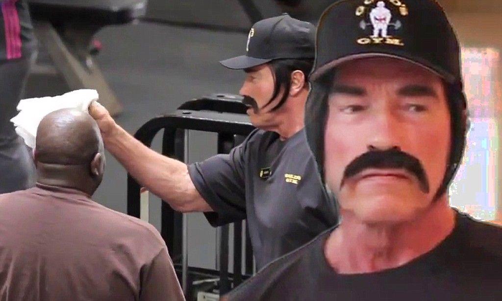 4c63fe51d17a8 Moustachioed Arnold Schwarzenegger goes undercover as a trainer..LOL…