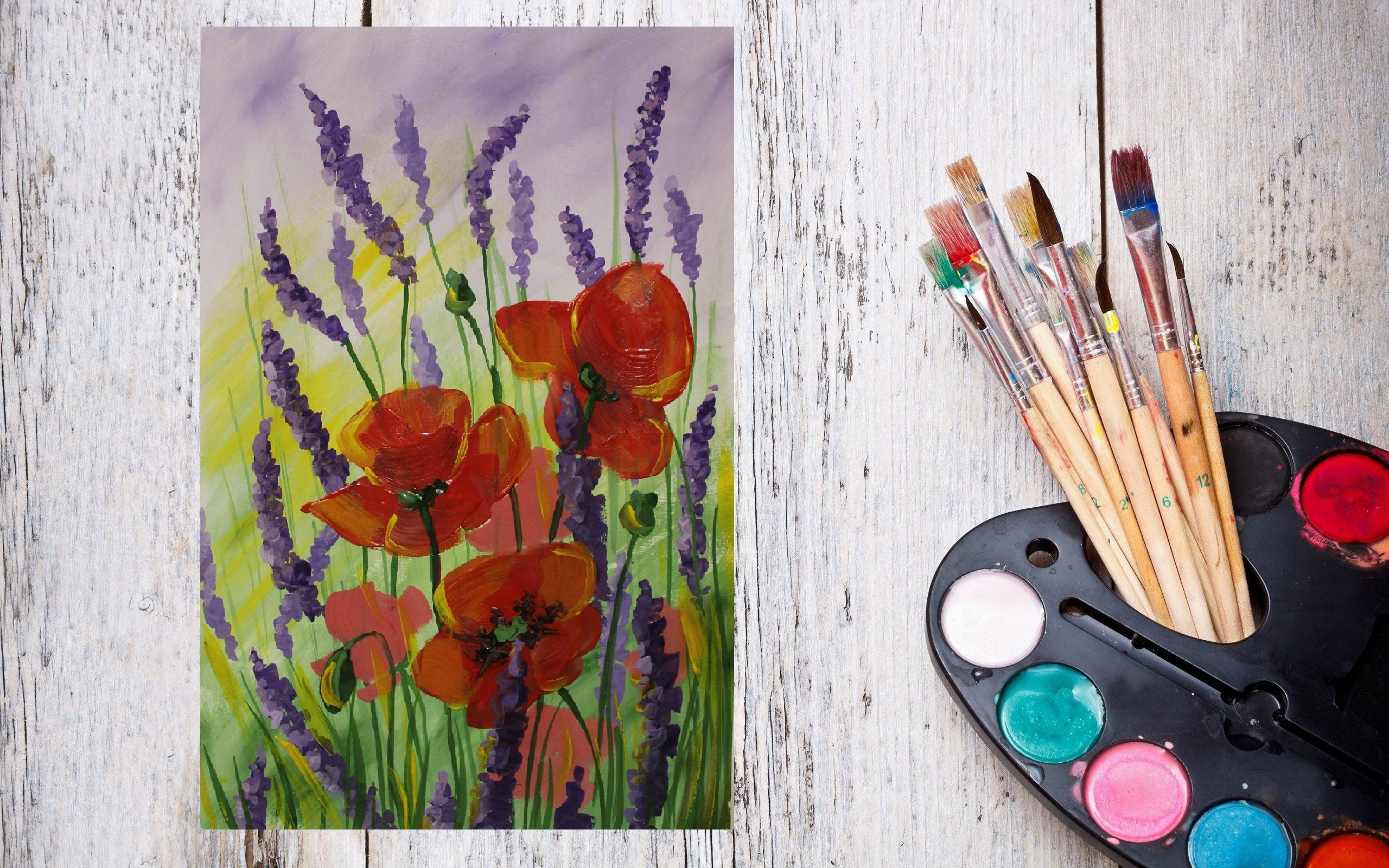 Днем, нарисовать картинку красками за 5 минут
