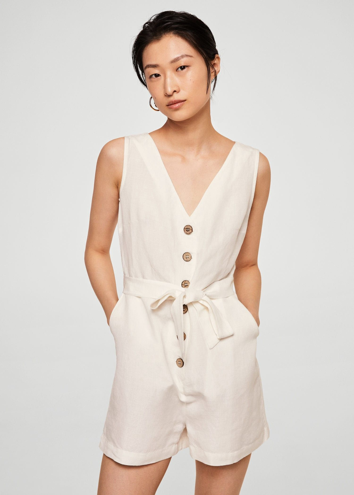 coupon code best new products Mango Bow Linen Jumpsuit - Off White M | Products ...