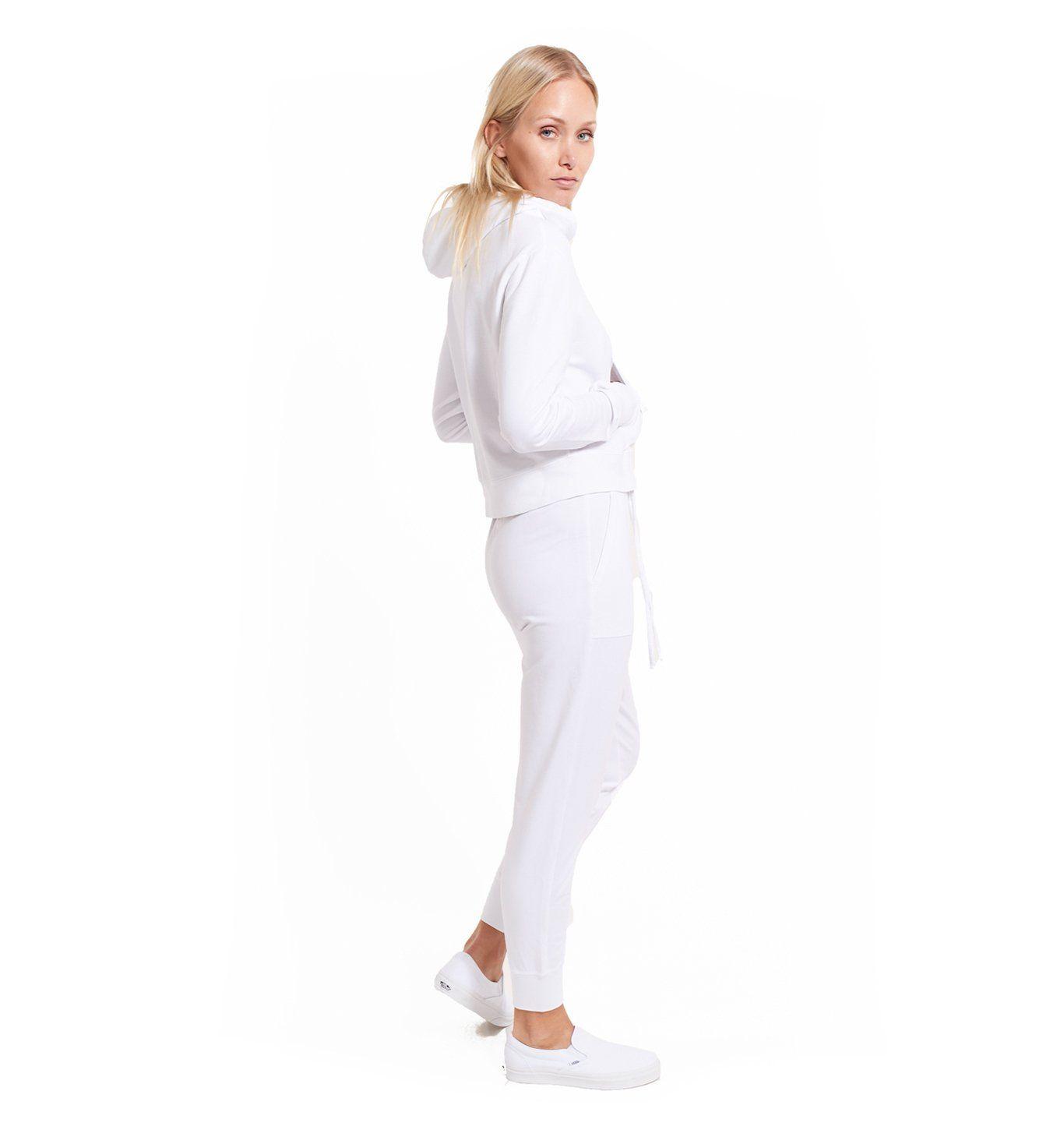 Women's Micro Terry Rib Cuff Jogger | White | Goodlife Clothing