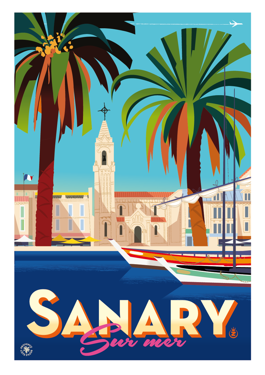 vintage travel poster palm trees
