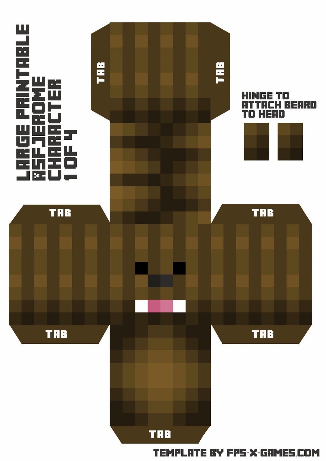 Large Asfjerome Printable Papercraft Character 1 Of 4 Minecraft