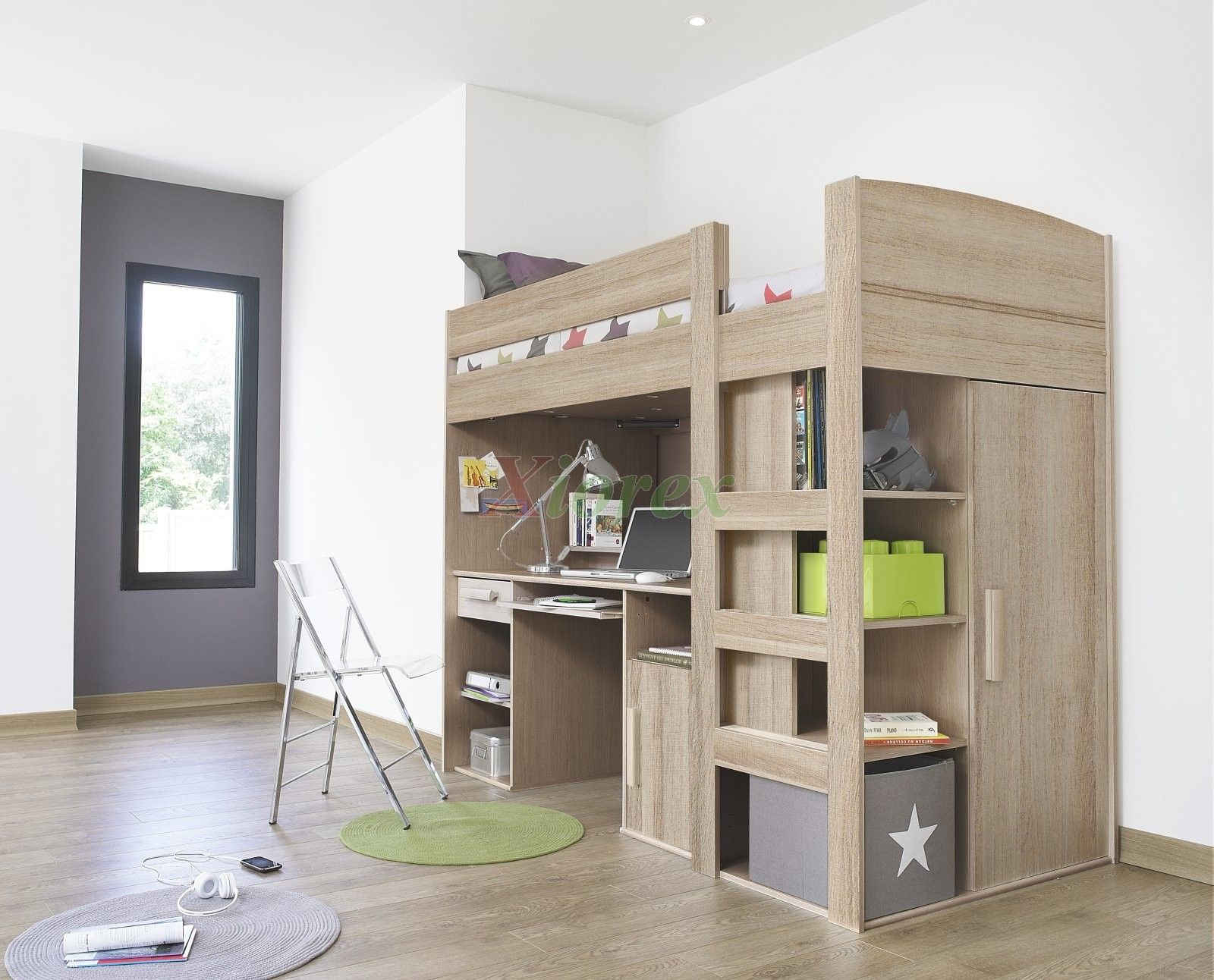 Grey loft bed with desk  Montana Loft Beds with Desk and Closet Underneath are Gami brand