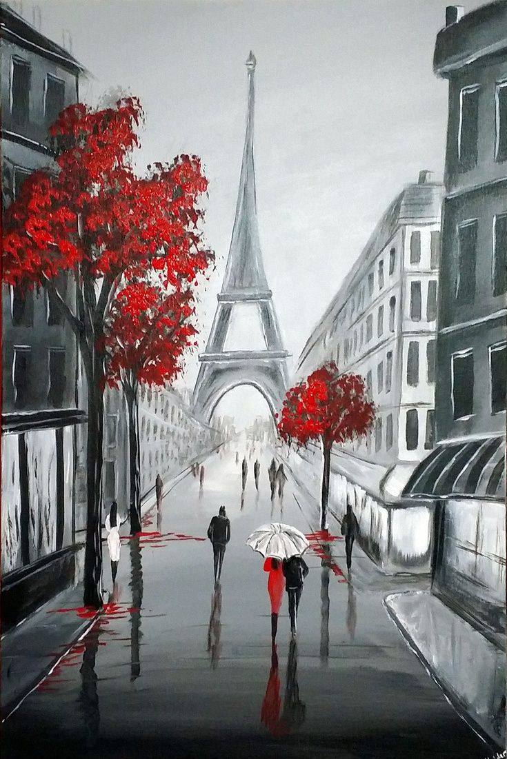 """Eiffel Streets by Aisha Haider  Acrylic painting """" Inspired to paint by a recent trip to paris. The focal point of this artwork is the iconic Eiffel Tower … """""""