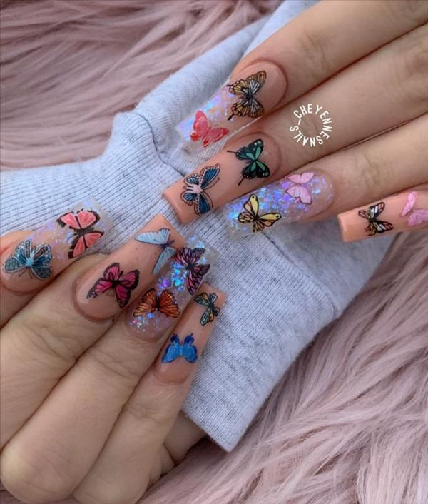 27 Beautiful Butterfly Nails For Spring Acrylic Coffin Nails Design 2020 Latest Fashion Trends For Woman In 2020 Butterfly Nail Coffin Nails Designs Swag Nails