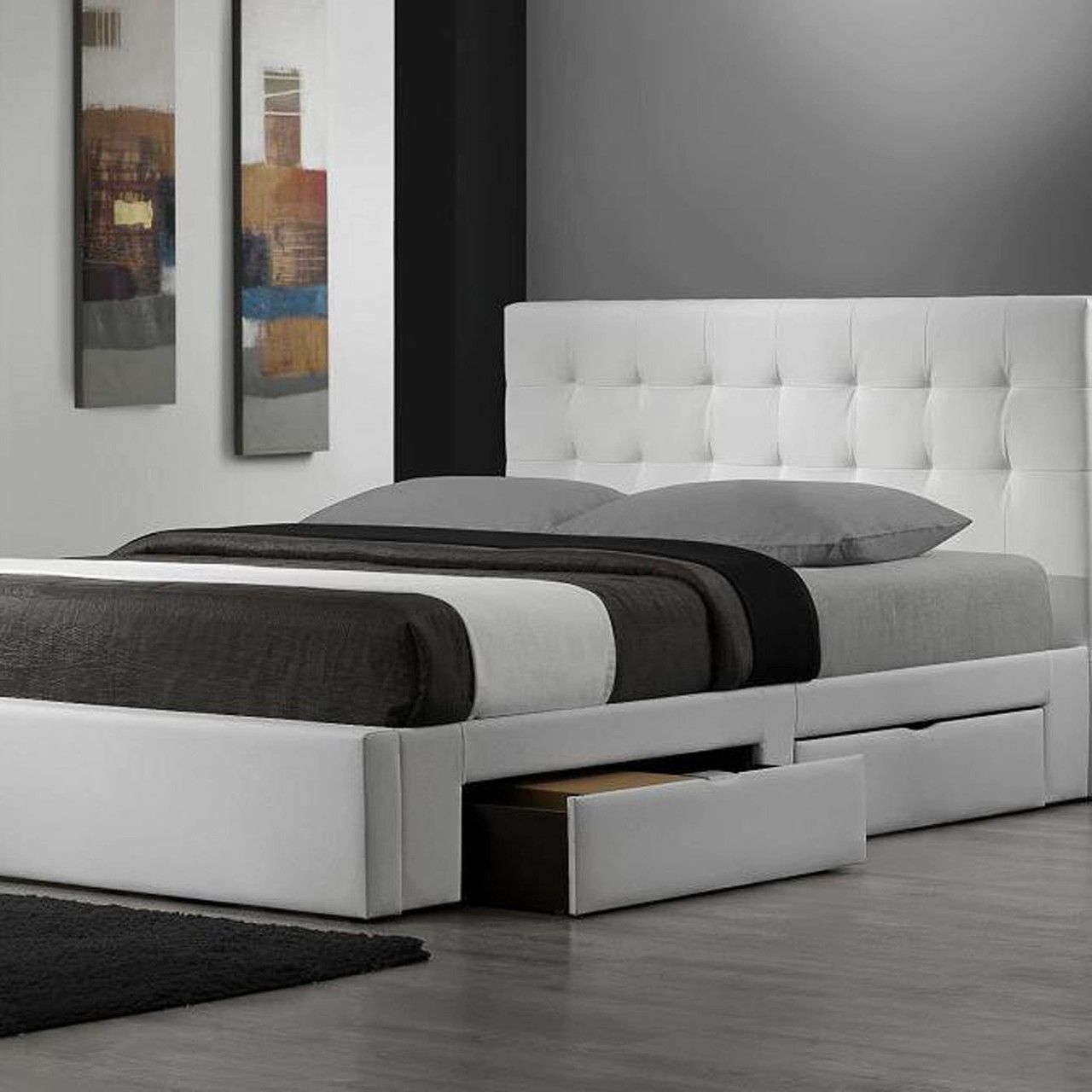 King Modern Storage Platform Bed In White Faux Leather