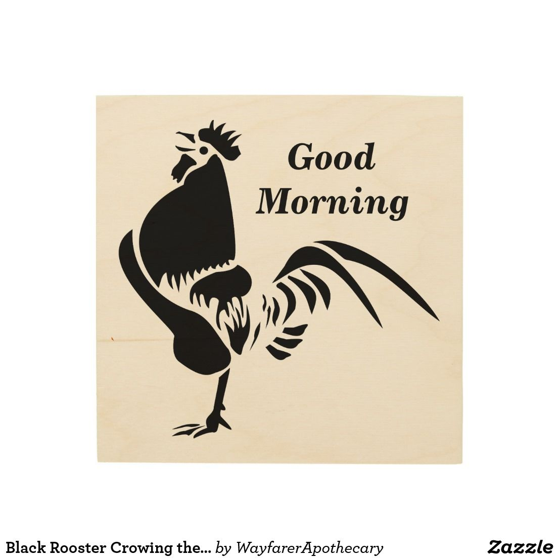 Black Rooster Crowing the Good Morning Alarm Wood Wall Decor