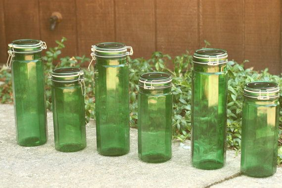 Superbe FINAL SALE 6 Vintage Green Glass Canisters By Vintageatmosphere