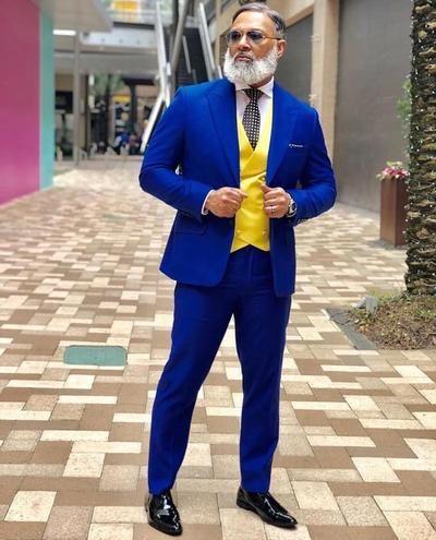 New Style Groomsmen Peak Lapel Groom Tuxedos Royal Blue Men Suits Wedding Best Man ( Jacket+Pants+Bow Tie+Vest )