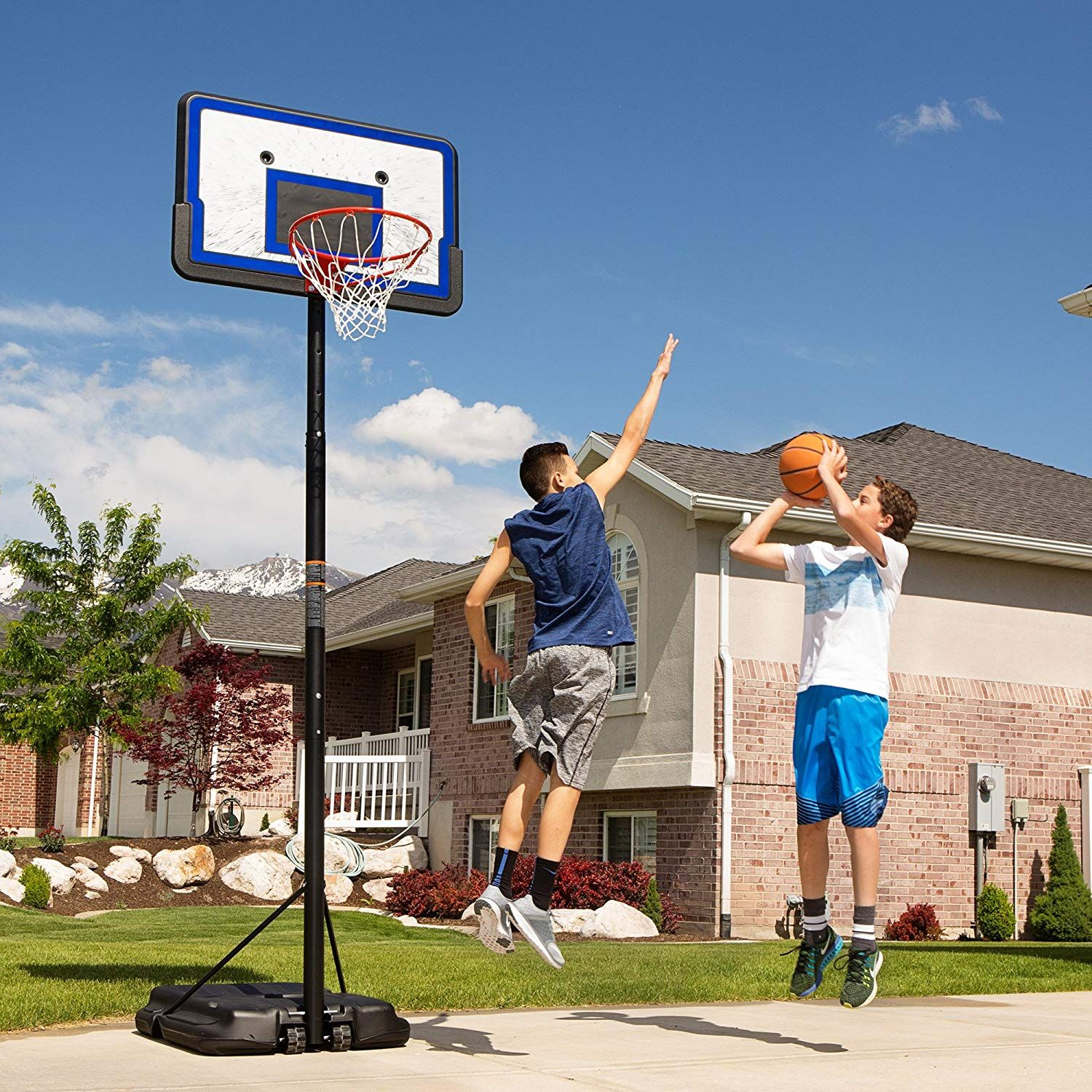 Lifetime 1221 Pro Court Height Adjustable Portable Basketball System 44 Inch Backboard Portable Basketball Hoop Basketball Systems Basketball Goals