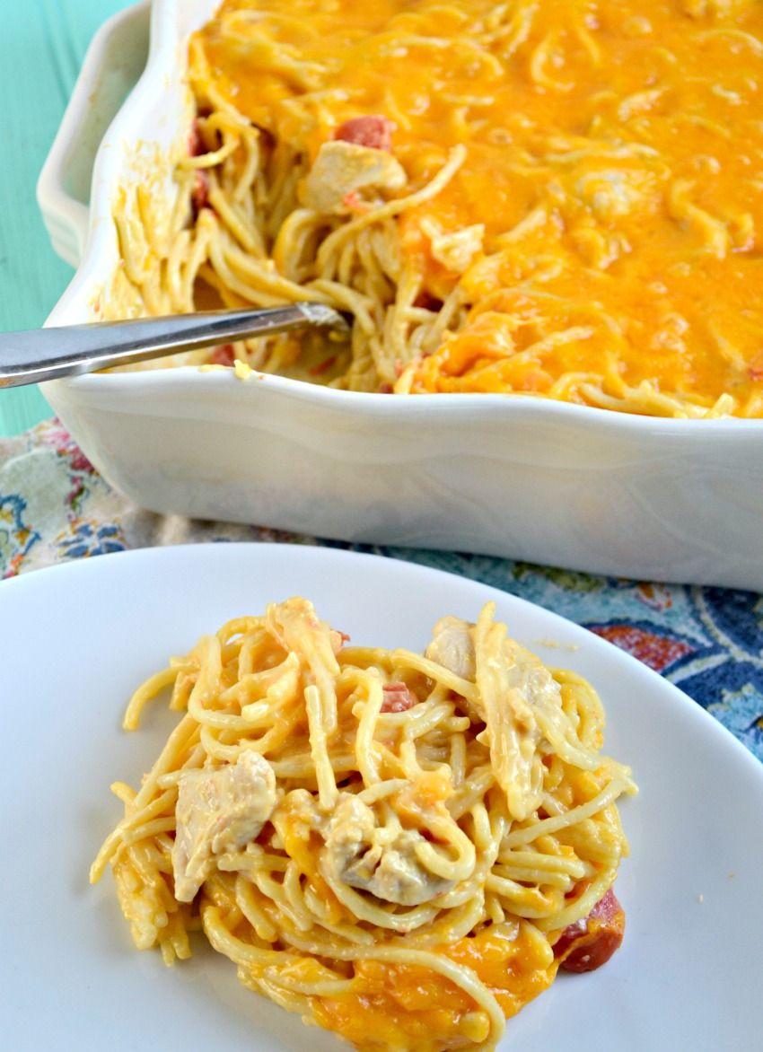 Cheesy Chicken Spaghetti With Velveeta Recipe Cheesy Chicken Spaghetti Chicken Spaghetti Recipes Chicken Spaghetti Velveeta