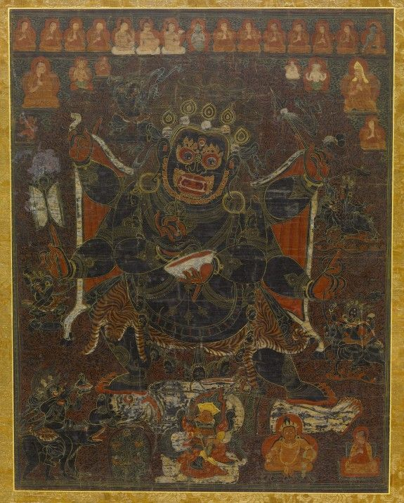 Six-Armed Mahakala with Retinue and Monastic Lineage, 15th century watercolor & gold on cotton Tibet. A prominent protector of the Buddhist teachings, his rage is directed at negative forces—such as ignorance, hatred, and desire—that hinder a pursuit of the Buddhist path to enlightenment,