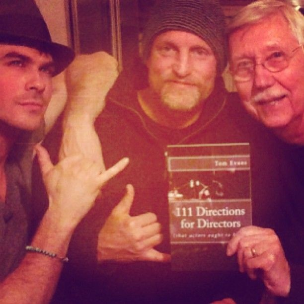 """Ian Somerhalder - 19/12/13 - Woody Harrelson, his mentor Tom Evans and Me in Georgia. Watching a mentor and a student relive a lifetime of experience together creating art. Amazing... Reminds me of how I can't wait to direct- Tom Evans here wrote this book on Directing, amazing. """"111 Directions for Directors""""- I've learned so much tonight. Reminds me of how grateful I am for my mentor-they are important http://instagram.com/p/iF7BFUqJ2j/ - Twitter & Instagram Pictures"""