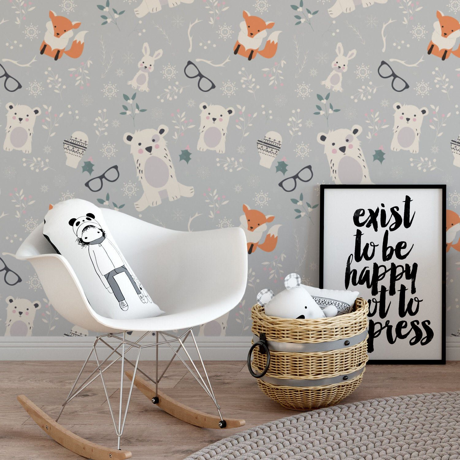 Bear And Fox Smart Wallpaper Elegant Art Removable Adhesive Wall