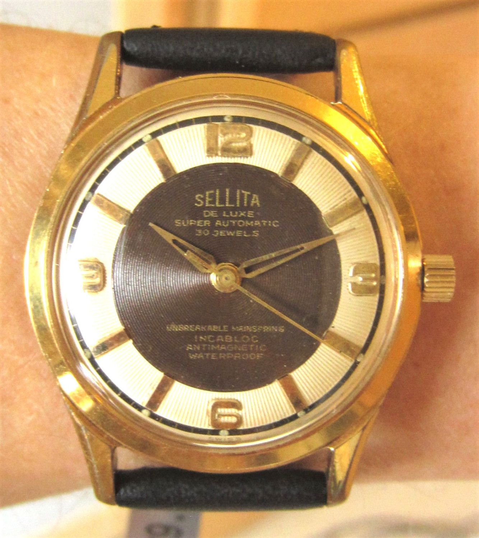 1950s art deco sellita automatic watch 30 jewels felsa