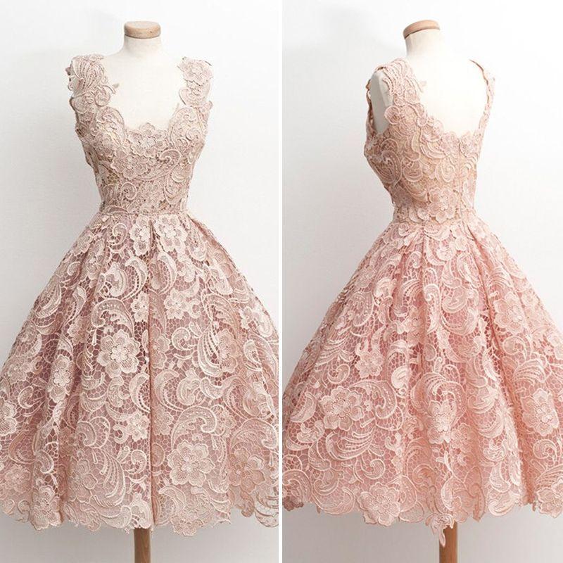 Vintage Spitze Kurze Brautkleider 2016 Rosa Appliques ...