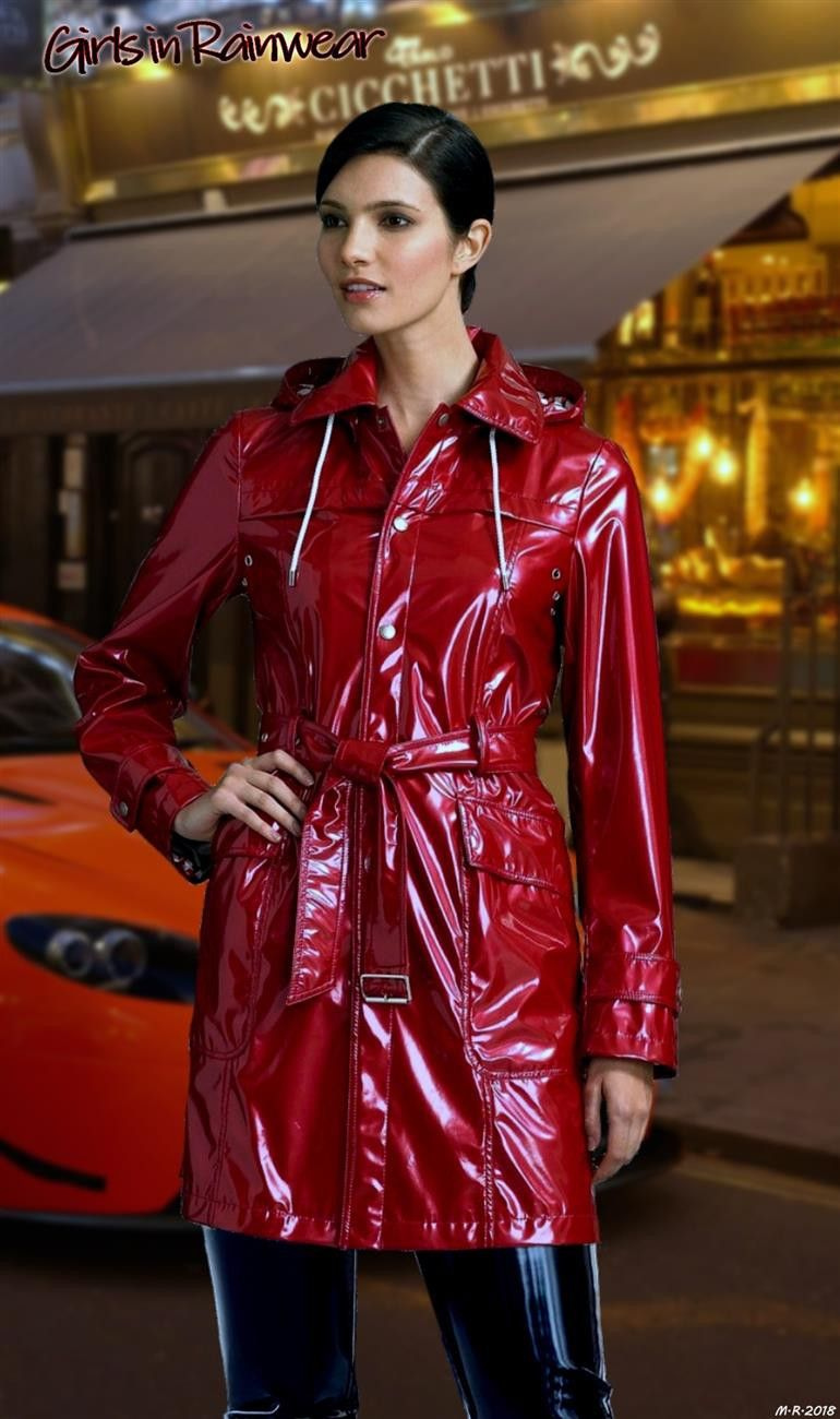 Girls in Rainwear | Rote Regenjacken & Regenmäntel | Pinterest | Raincoat,  Pvc raincoat und Rain wear