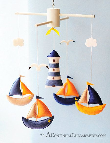 Photo of Segeln-Baby-Mobile, nautische Mobile, Baby Boy Mobile, Light House Cloud Boot Sea Gull, Meer-Mobile, Boot Mobile, Marineblau, Orange weiß