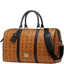 d95e19cea674 Authentic MCM Travel Weekender Duffle Bag Cognac visetos New