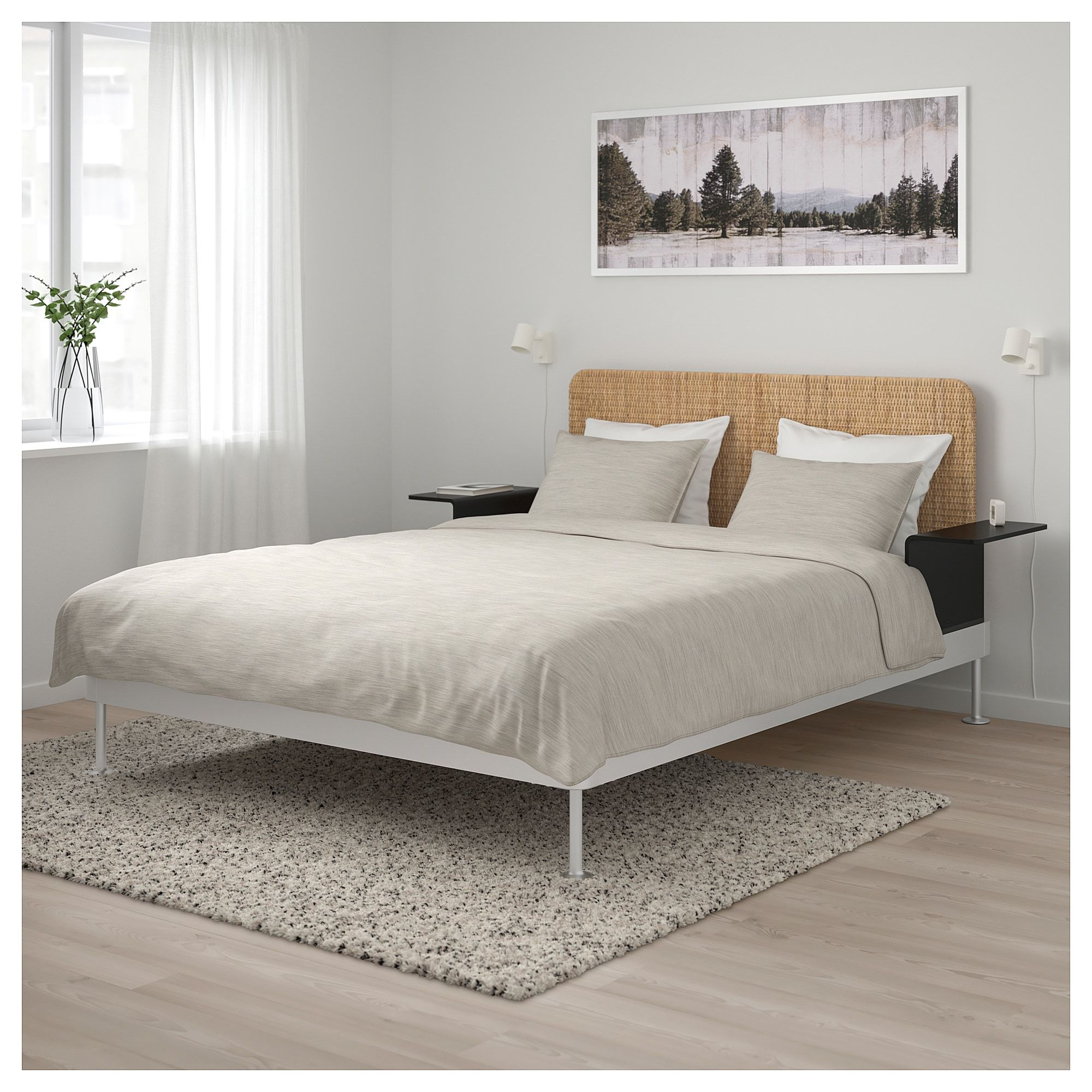 Delaktig Bed Frame Headboard 2 Side Tables Aluminum Rattan Ikea Bed Frame And Headboard Bed Frame Headboard