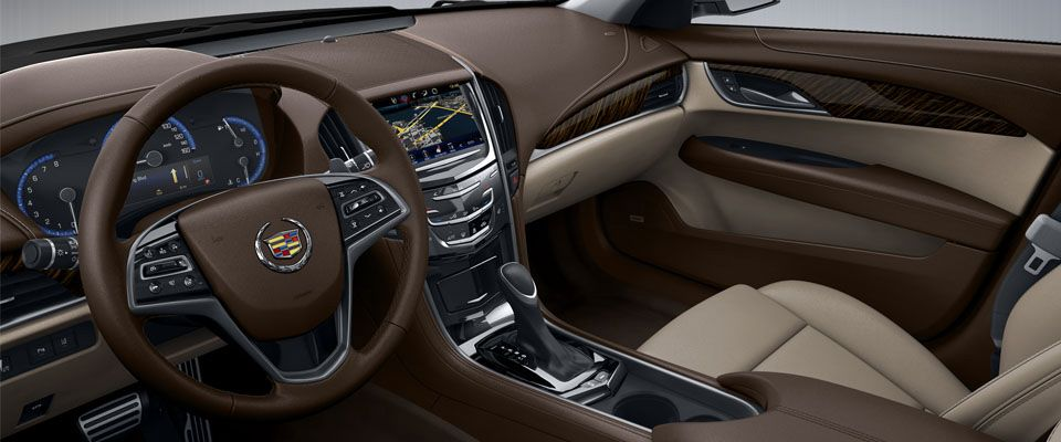 2013 Cadillac ATS Sedan Interior With Light Platinum Leather, Brownstone  Accents, And Okapi Stripe Wood Trim