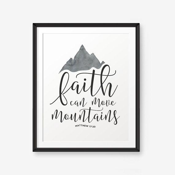 Der Glaube kann Berge versetzen-Matthäus 17:20, Bibel Vers bedruckbar, Schrift Drucken, christliches Geschenk, Kinderschminken, Farbe Custom Color #bible