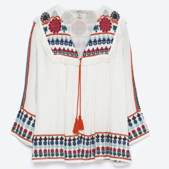 SOLD OUT Zara Embroidered Jacket NWT (tag is clipped). Colorful statement piece to add to any outfit. Wears like a blouse but would work well as a light jacket or beachy cover up. Small hole on seam from security tag, but not noticeable when worn. Zara Tops Blouses