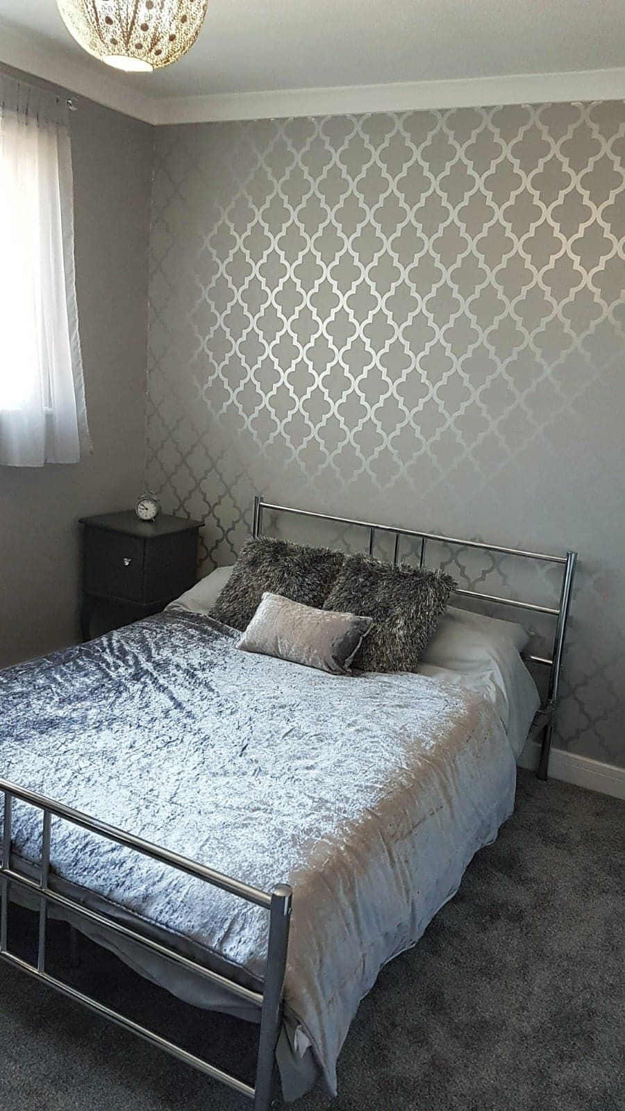 Henderson Interiors Camden Trellis Wallpaper Soft Grey Silver H980527 A Beautiful Un Silver Wallpaper Living Room Bedroom Renovation Wallpaper Living Room
