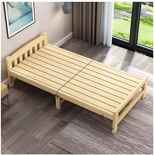 CQIANG Household Solid Wood Folding Bed, Single Simple ...