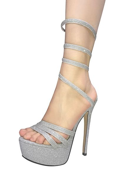 Chaussures argentées Sexy femme bbv9Dhbbxe