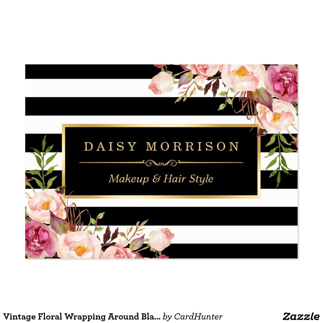 Vintage Floral Wrapping Around Black White Stripes Business Card ...